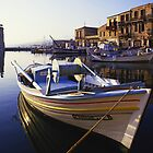 Boat in Rhodes harbour by sloweater