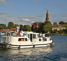 Boating at Malchow, Mecklenburg, Germany by David A. L. Davies