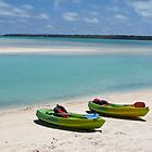 two boats in Aitutaki by Anne Scantlebury