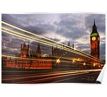 Zoom Zoom Zoom - Bus going past Westminster London at Night Poster