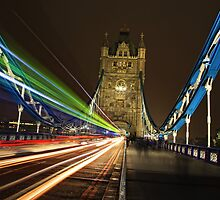 Light Trails on Tower Bridge, London by Giovanna Tucker