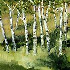 Birches on a Hillside by Michelle Calkins