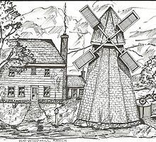 Old New England Windmill Scene by charlesadams