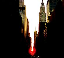 Manhattanhenge Sunset and the Chrysler Building by Vivienne Gucwa