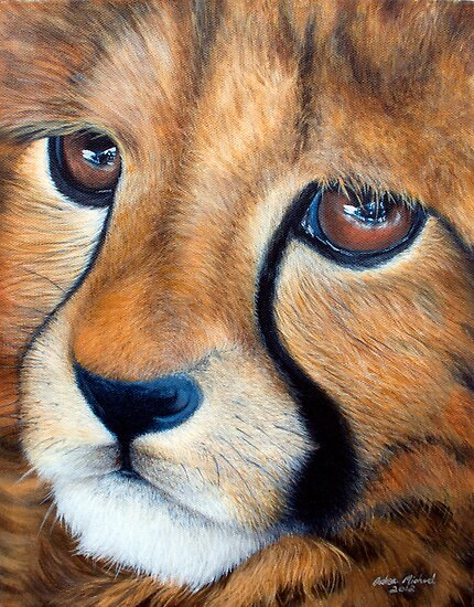 Cheetah Cub in Acrylic by Andrea Michael
