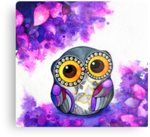 Owl in Purple Blossoms Metal Print