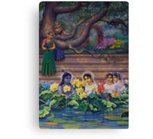 Radha and Krishna in Radha kunda Canvas Print