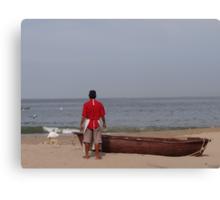 The Boat, The Fisherman And The Ocean - El Barco, El Pescadero Y El Oceano Canvas Print