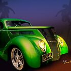 Green 37 Ford Hot Rod Decked Out for a Tropical Saint Patrick's Day in South Texas by ChasSinklier