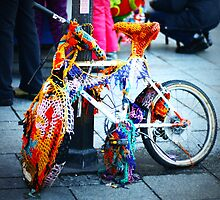 Crocheted Bike, Krakow, Poland by Stephen  O'Neill