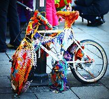 Crocheted Bike, Krakow, Poland by Stephen  O'Neill