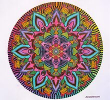 Mandala 10 drawing rainbow 2 Prints, Cards & Posters by mandala-jim