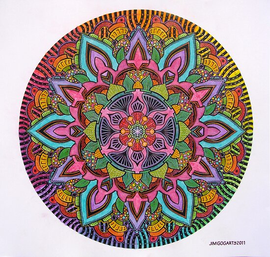 Mandala 10 drawing rainbow 2 Prints, Cards & Posters by mandala-jim
