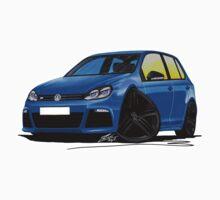 VW Golf R (5dr) Blue (Black Wheels) by Richard Yeomans