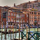 Gondolas on the Grand Canal by Tom Gomez