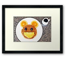 Happy Mouse pancakes with fresh fruit Framed Print