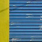 Yellow texture, blue lines, white hand marks by Marjolein Katsma