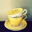vintage yellow teacups by Catherine  Regan