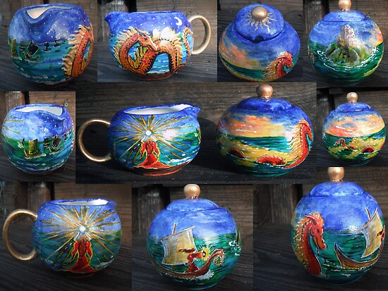 Sorserous warrior princess her fleet and her Serpent, Creamer and Sugar bowl  by Wendy Crouch