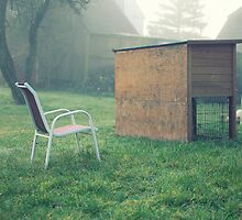 Children's chair behind rabbit cage by Henrik Hansen