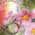 Primrose, oil and water abstract by Lyn Evans