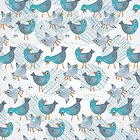 blue birds on light gray by demonique