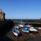 Blue boats at Lynmouth by Javimage