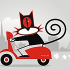 Hellcat loves his Vespa by Matt Mawson
