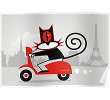 Hellcat loves his Vespa Poster