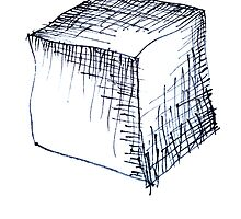 Freehand cube sketch  by suranyami