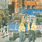 Road works, Old Compton Street, London by ian osborne