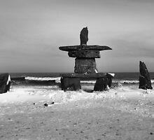 Inuit Inukshuk on Hudson Bay in Black & White by Carole-Anne
