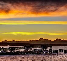 Sunset over the Edmonds Ferry Termimal by Jim Stiles