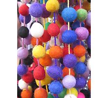 COLOURED COTTON BOBBLES NOW AVAILABLE ON THROW PILLOWS Photographic Print