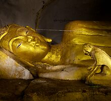 Dying Buddha with disciple by John Spies