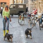 woman walking dogs in Rome by Anne Scantlebury
