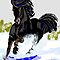 Black Horse Dashing Through Snow by dorcas13