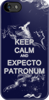 Keep Calm and Expecto Patronum- Glowing Stag by krishnef
