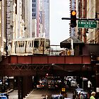 The El on East Wacker - Chicago  by nickaustwick