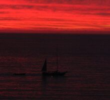 Red Sunset with a Boat - Puesta del Sol en Rojo y una Lancha, 60 views by PtoVallartaMex