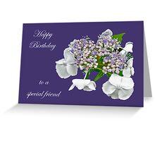 Special Friend Birthday Card - Blue Lace Cap Hydrangea Greeting Card