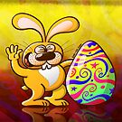 Easter Bunny Proud of his Big Decorated Egg by Zoo-co