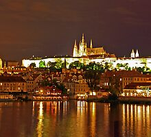 Prague Castle at Night. View 5 by Anatoly Lerner