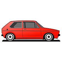 Volkswagen Golf Mk1 - Red Photographic Print