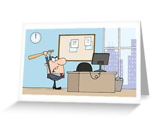 Angry Businessman With Baseball Bat In Office Greeting Card