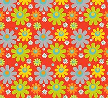 color daisies on red  by nadil