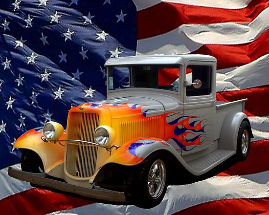 """1931 Ford """"Flamed"""" Hot Rod Pickup Truck by TeeMack"""