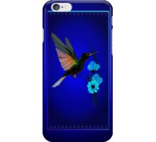 Green Hummingbird-Blue Flowers iPhone Case/Skin