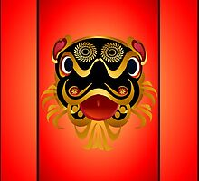 Black 'n Gold Chinese Dragon Face by Lotacats