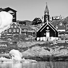Greenland - Ilulissat church among the icebergs by Derek  Rogers